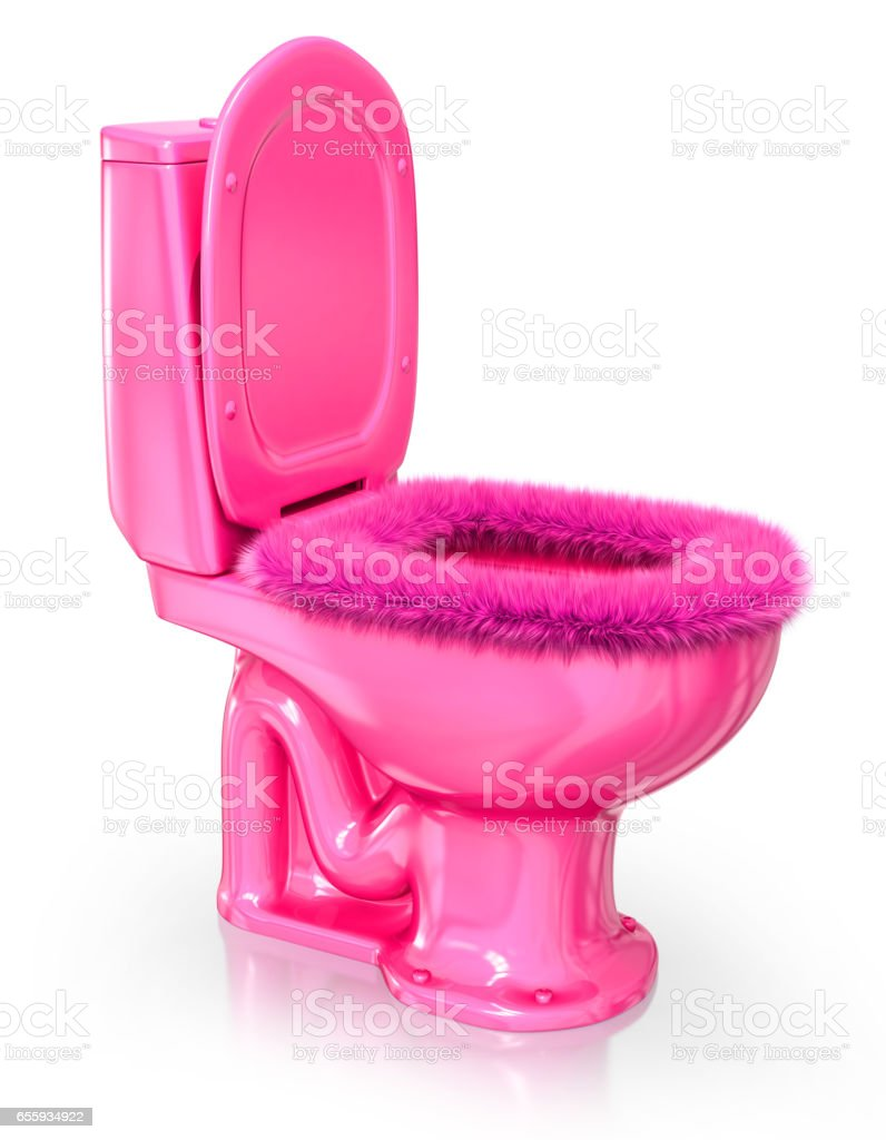Pink toilet seat with fur stock photo