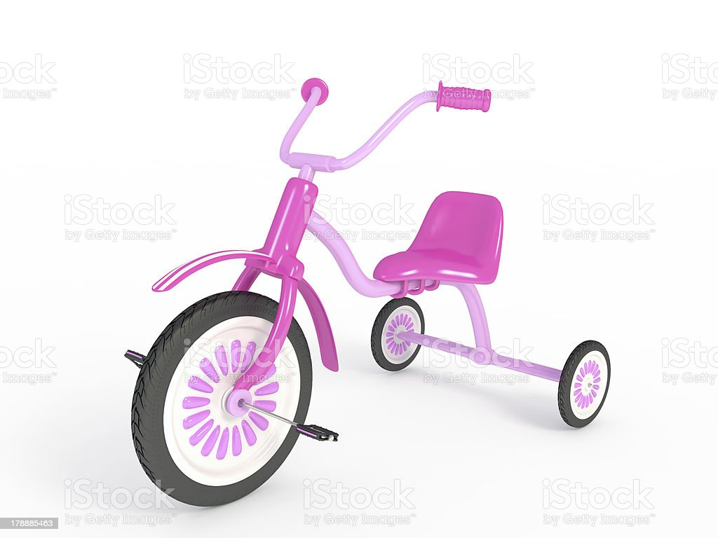 Pink tricycle, isolated on white royalty-free stock photo