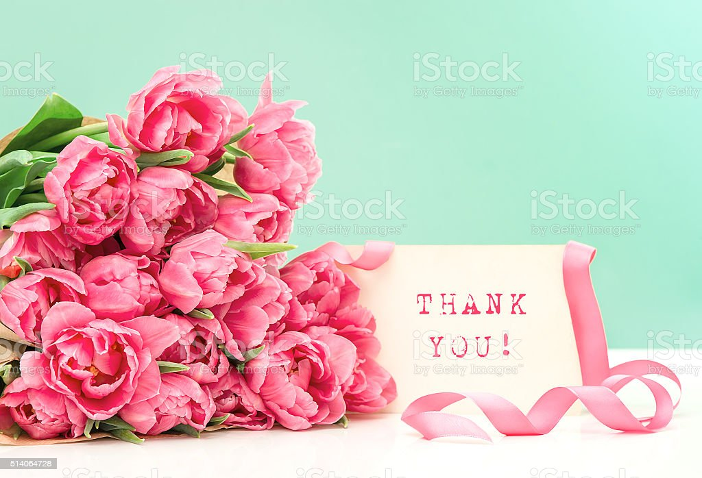 Pink tulips and card Thank You! Postcard concept stock photo