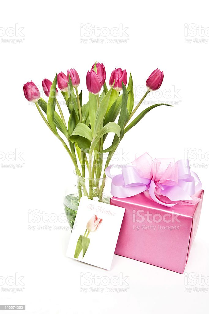 Pink Tulips and Gift for Mother's Day royalty-free stock photo