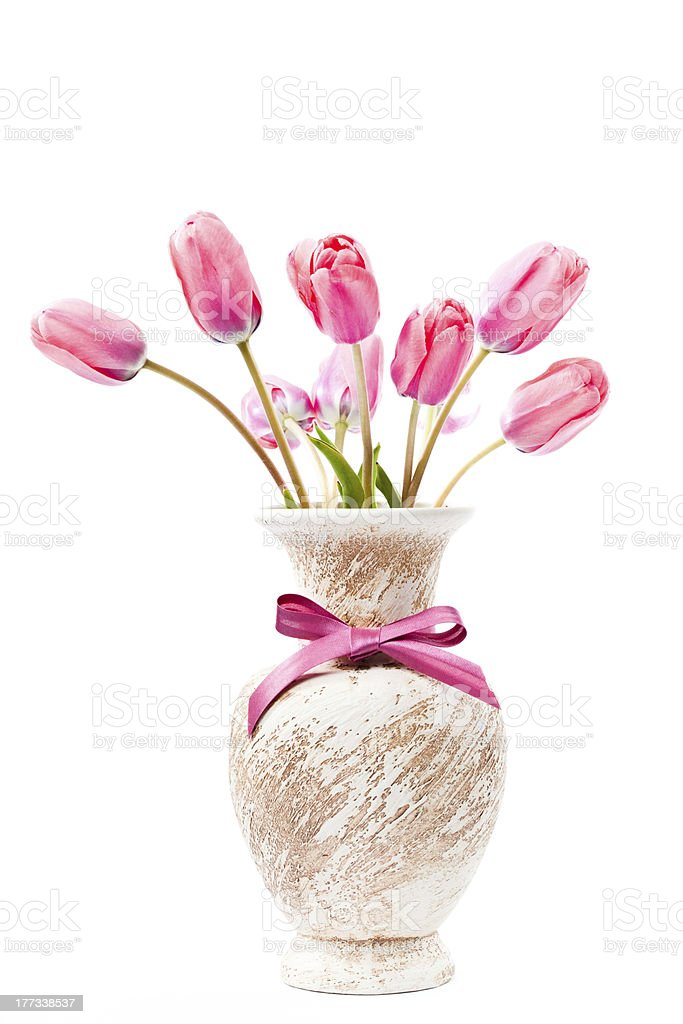 Pink tulips in vase royalty-free stock photo