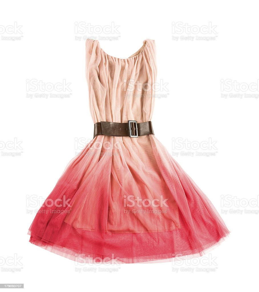 Pink tulle tie dye evase tank dress with leather belt stock photo