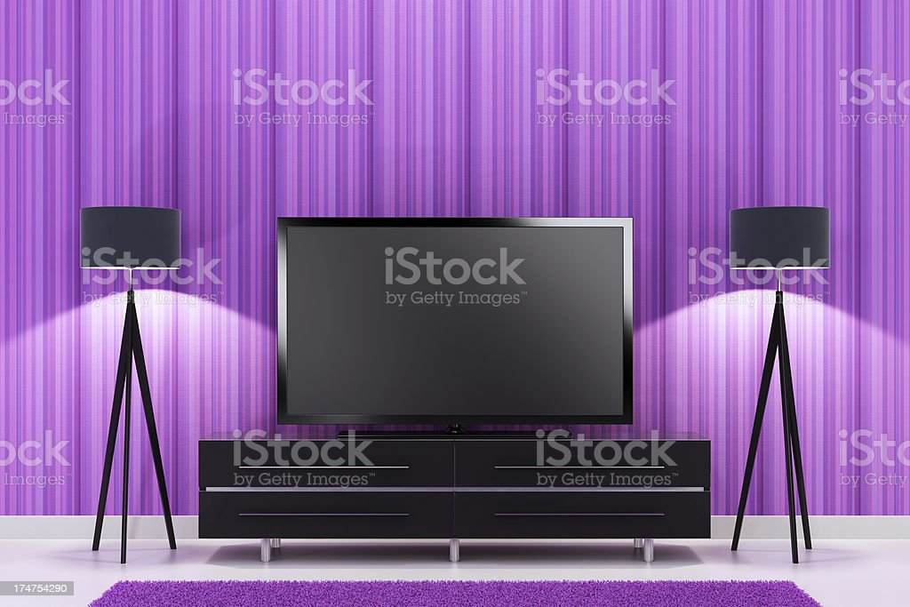 Pink TV Room royalty-free stock photo