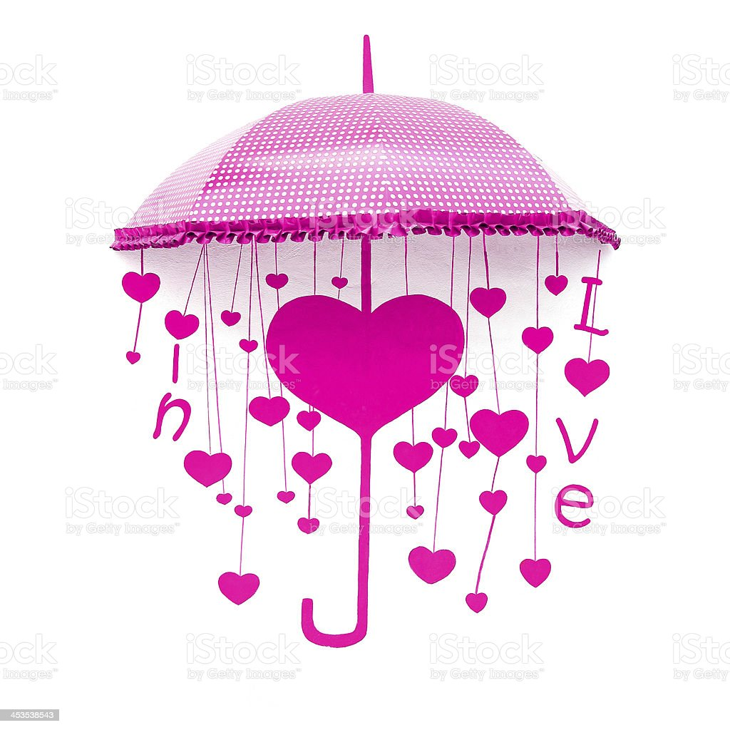 Pink umbrella with heart and love royalty-free stock photo