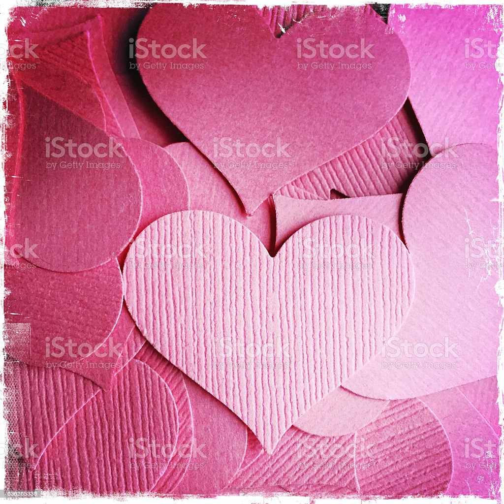 Pink Valentine Hearts in a Pile stock photo