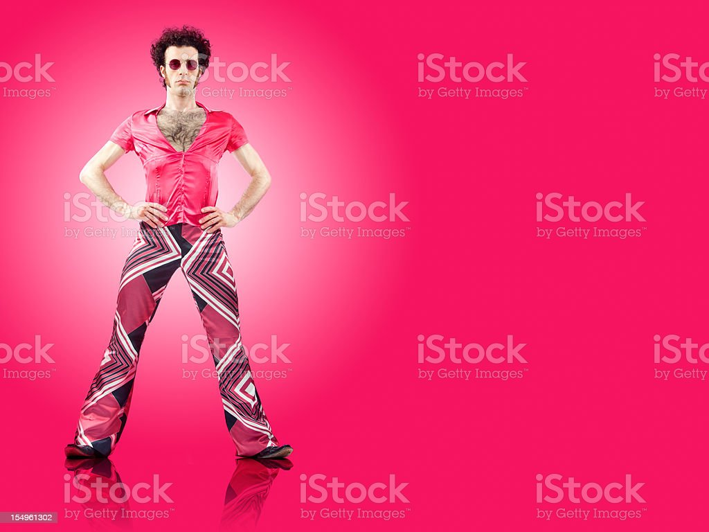 pink vintage curly hair dancer full portrait with copyspace royalty-free stock photo