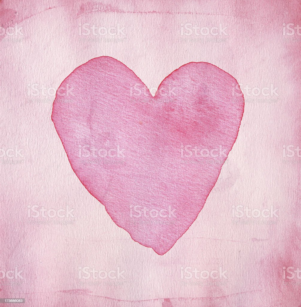 Pink watercolor heart royalty-free stock photo