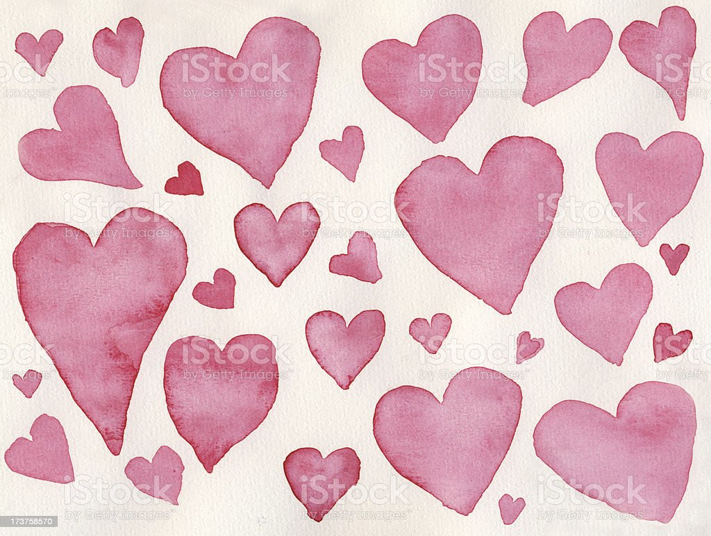 Pink watercolor hearts royalty-free stock photo