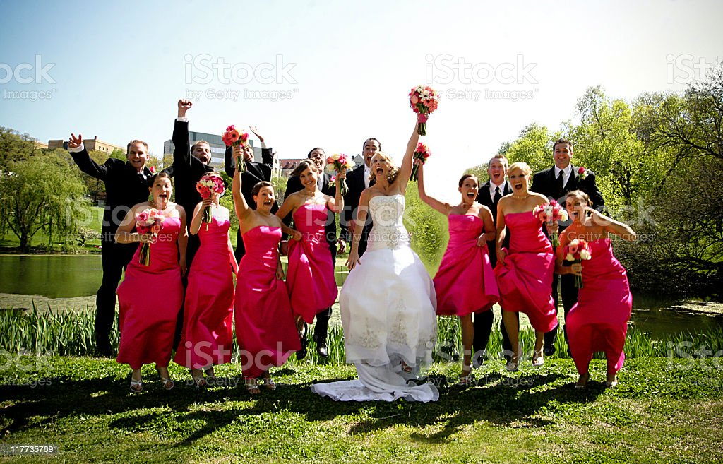 Pink Wedding Party Happy Jumping stock photo