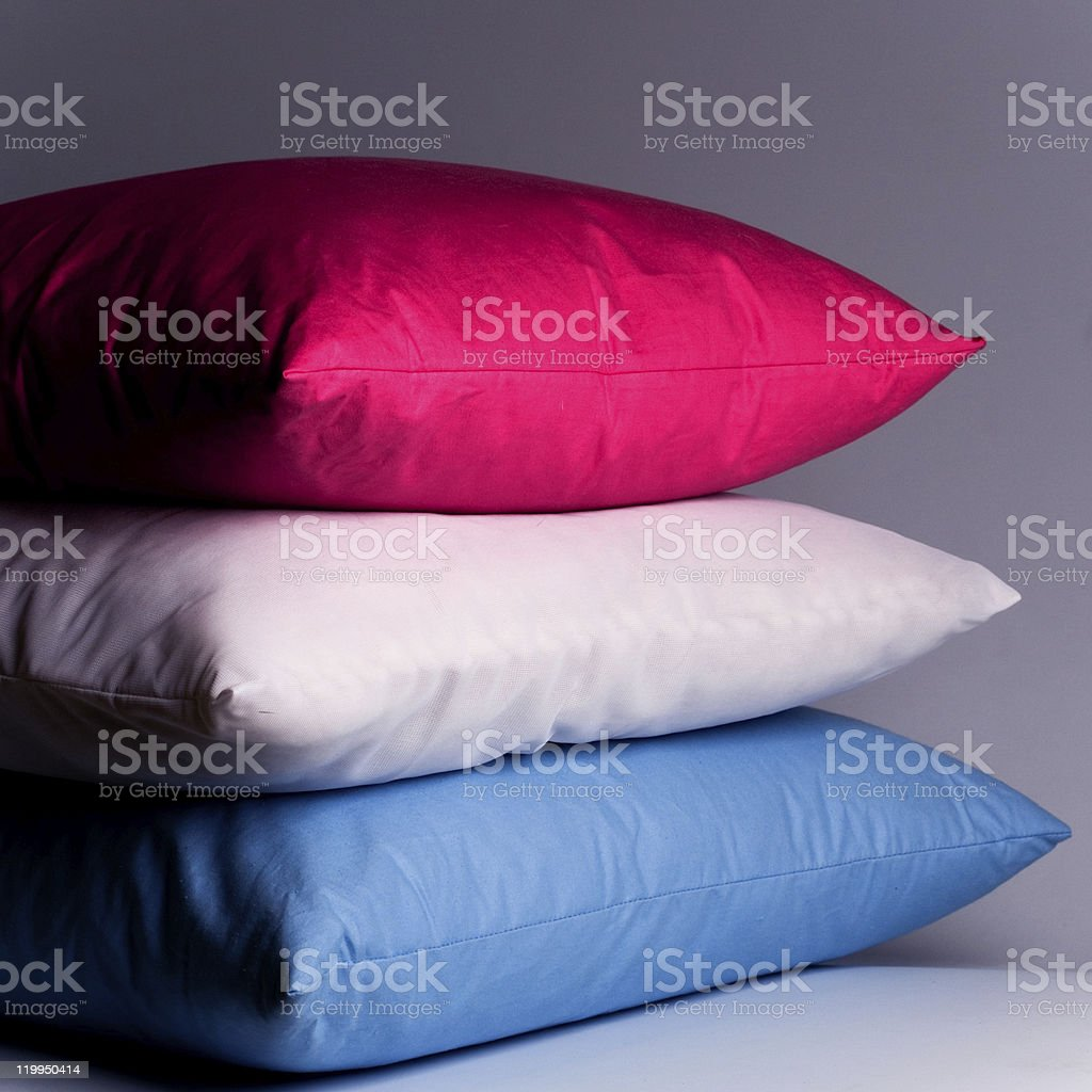 pink, white and blue pillows royalty-free stock photo