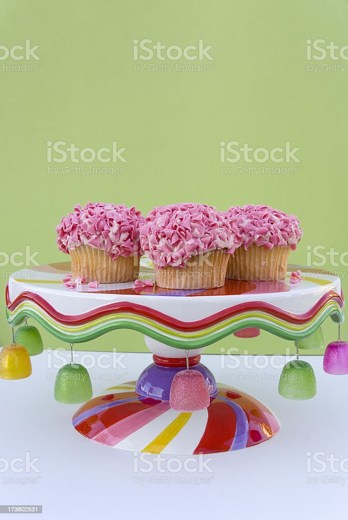 Pink White Chocolate Cupcakes on Cake Plate, Birthday Food Background royalty-free stock photo