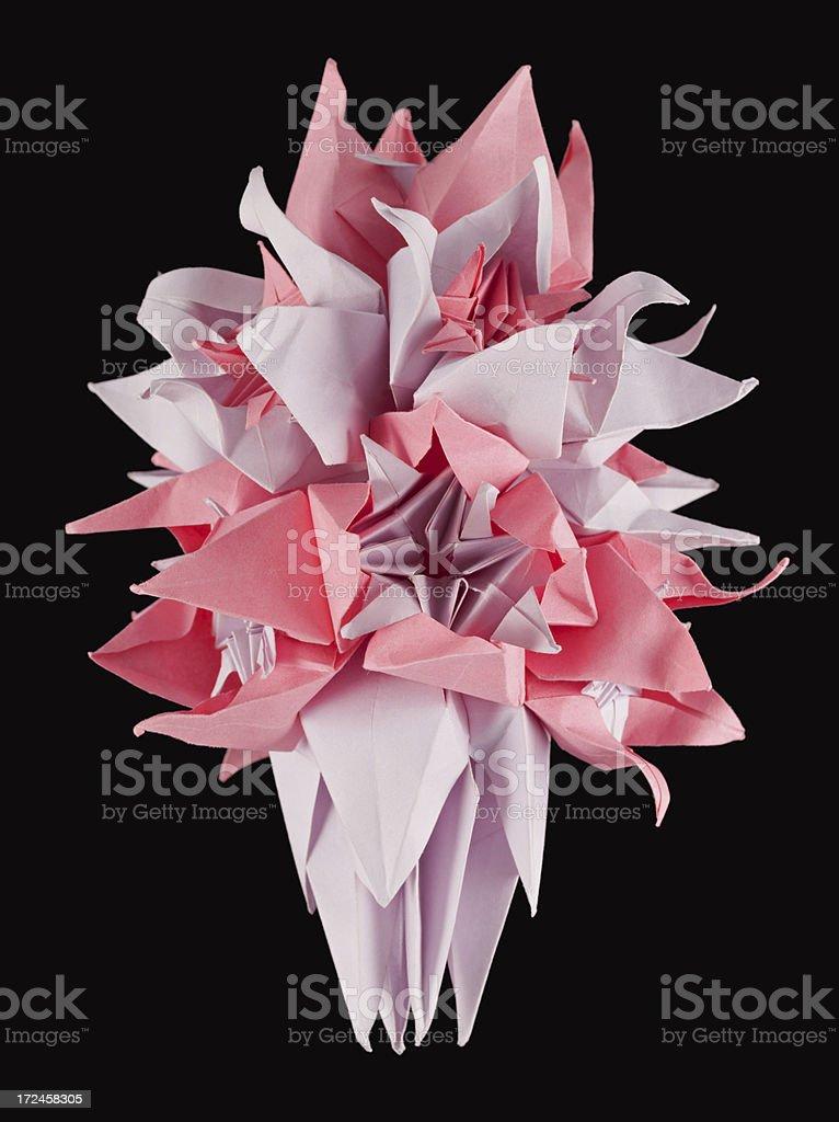 Pink white origami kusudama royalty-free stock photo