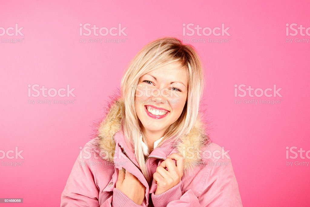 Pink winter girl stock photo