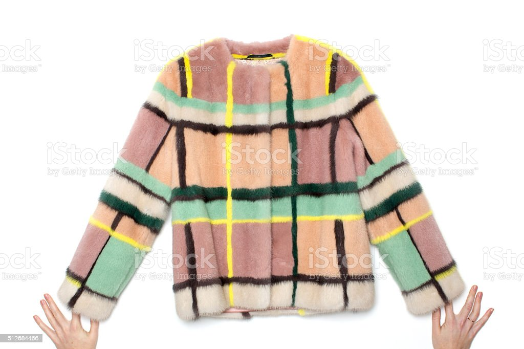 Pink with stripes fur coat stock photo