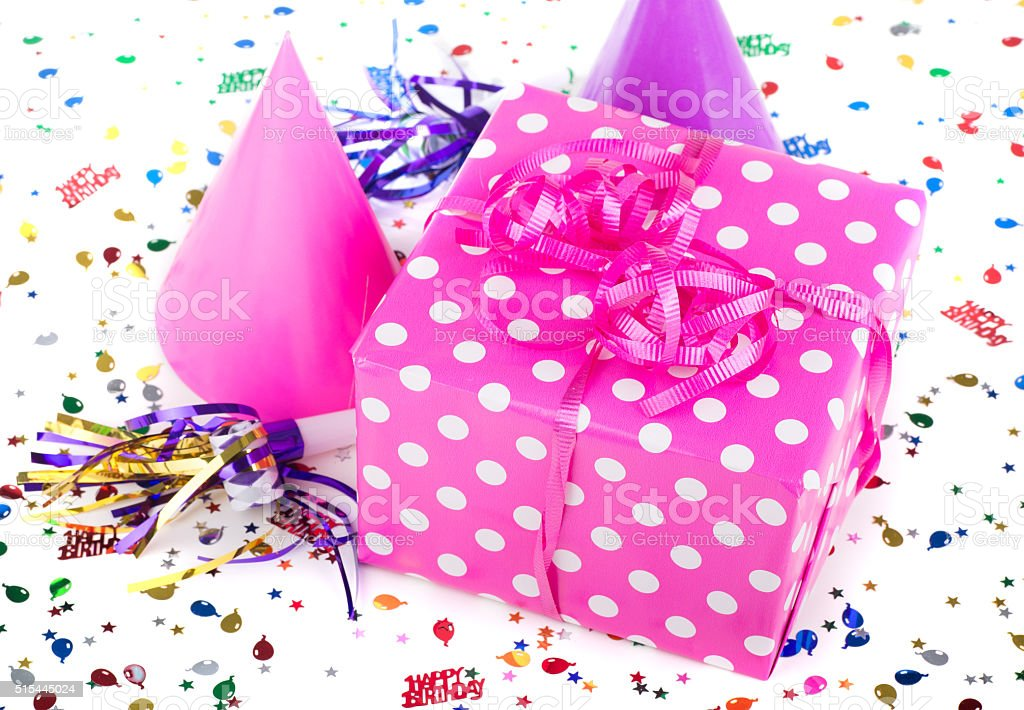 Pink with White Polka Dot Present stock photo