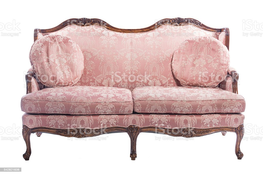 Pink wooden royal ornament luxury vintage sofa isolated stock photo