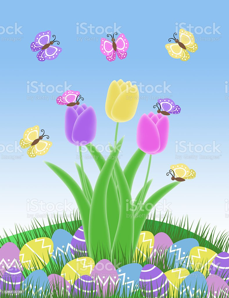 pink yellow and purple butterfly easter egg and tulip spring illustration stock photo