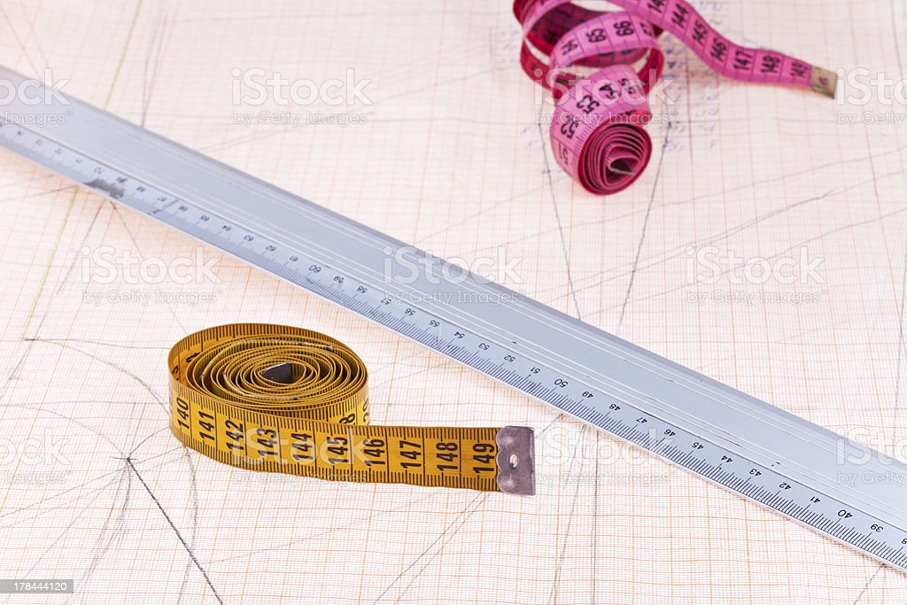 Pink, yellow measure tapes and metal ruler royalty-free stock photo
