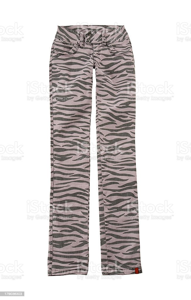 Pink zebra jeans stock photo