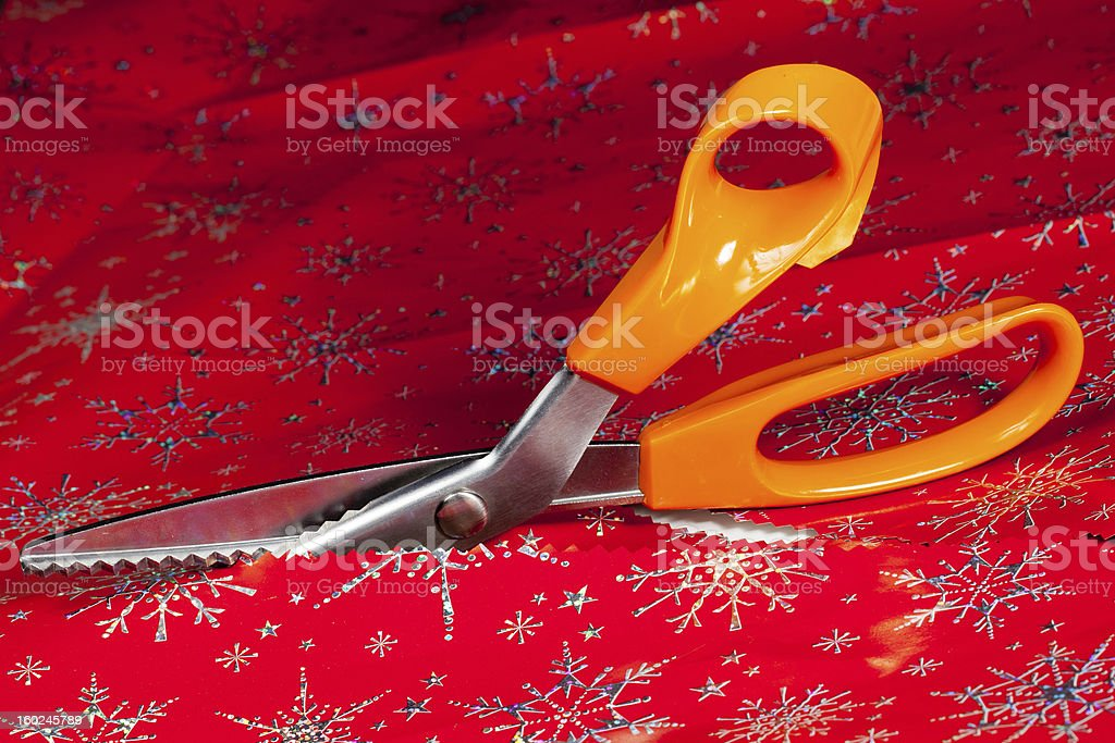 Pinking shears or scissors cutting stock photo