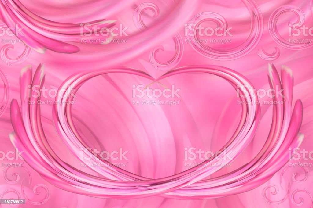 Pink-white background. Curls in the shape of heart. Postcard for the holiday. For design. Abstract background. stock photo