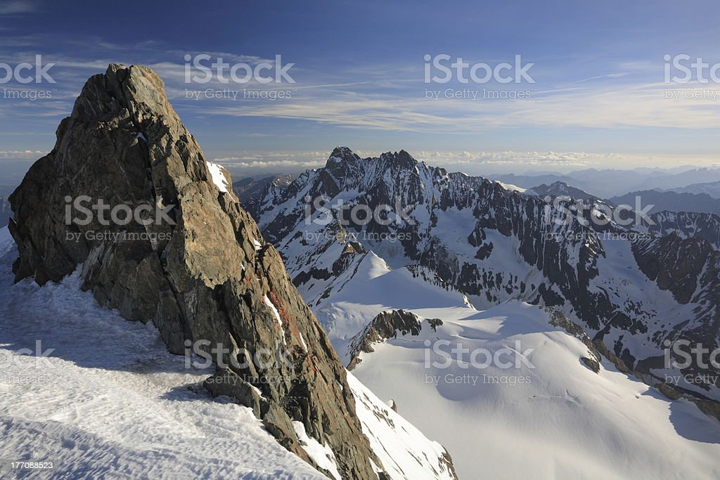 Pinnacle and mountain view stock photo