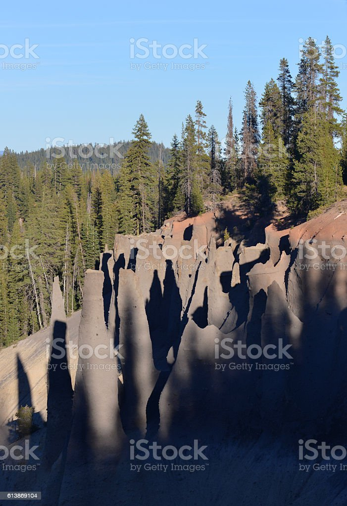 Pinnacles of volcanic ash, Oregon, USA stock photo