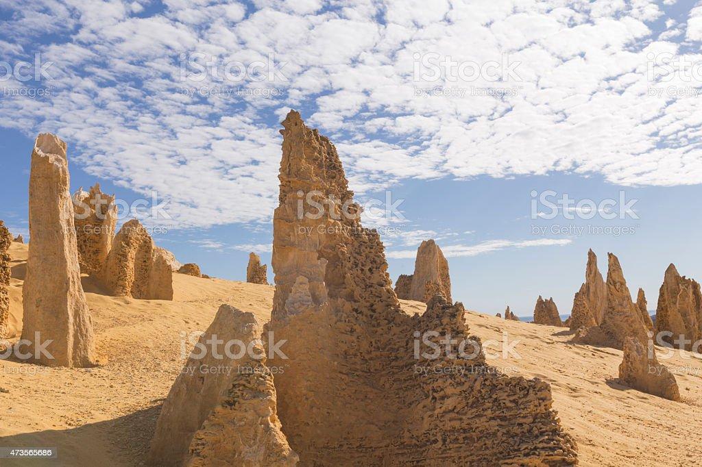Pinnacles on Sand Dunes in Nambung National Park stock photo