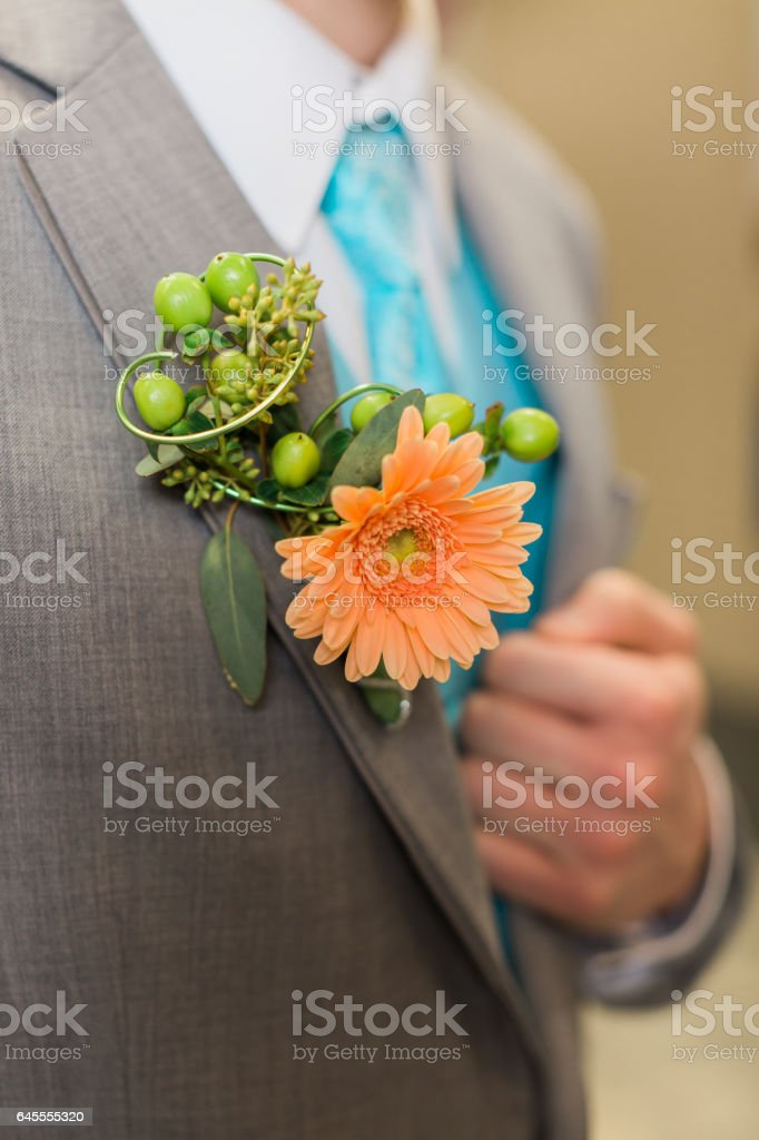 Pinned boutonniere to suit stock photo