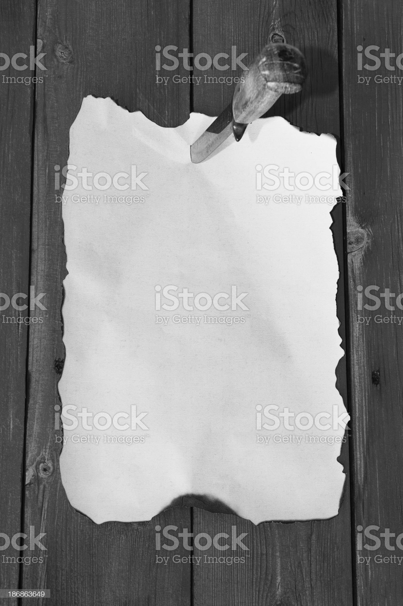 Pinned Paper B&W royalty-free stock photo