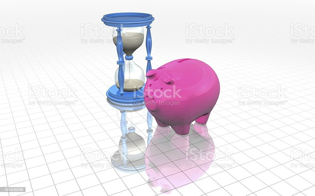 pinnk piggy bank with time concept stock photo