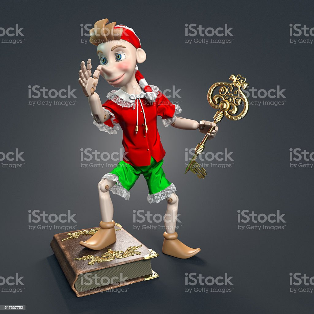 Pinocchio character with a golden key stock photo