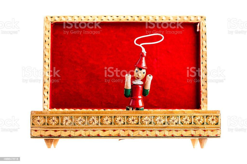 Pinocchio in the box stock photo