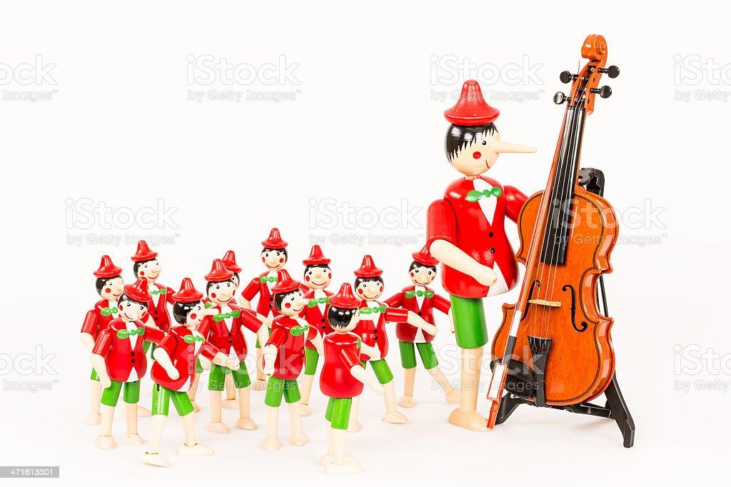 Pinocchio s Violin Training stock photo