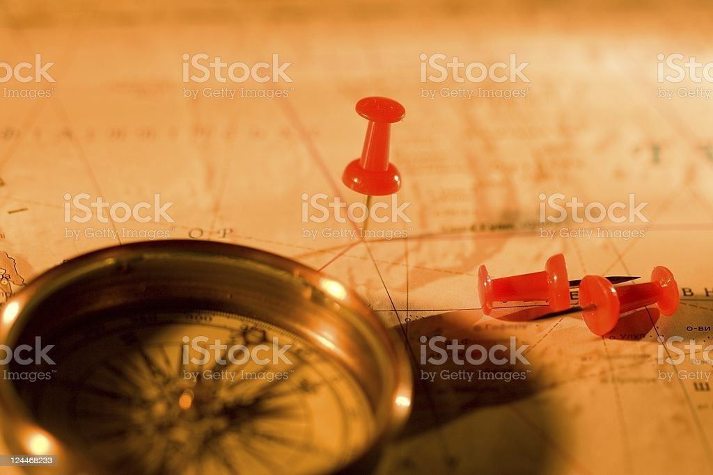 Pins and compass royalty-free stock photo