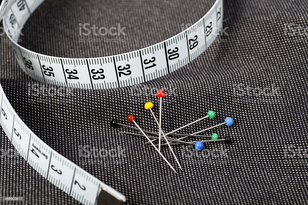 Pins and Measuring Tape stock photo