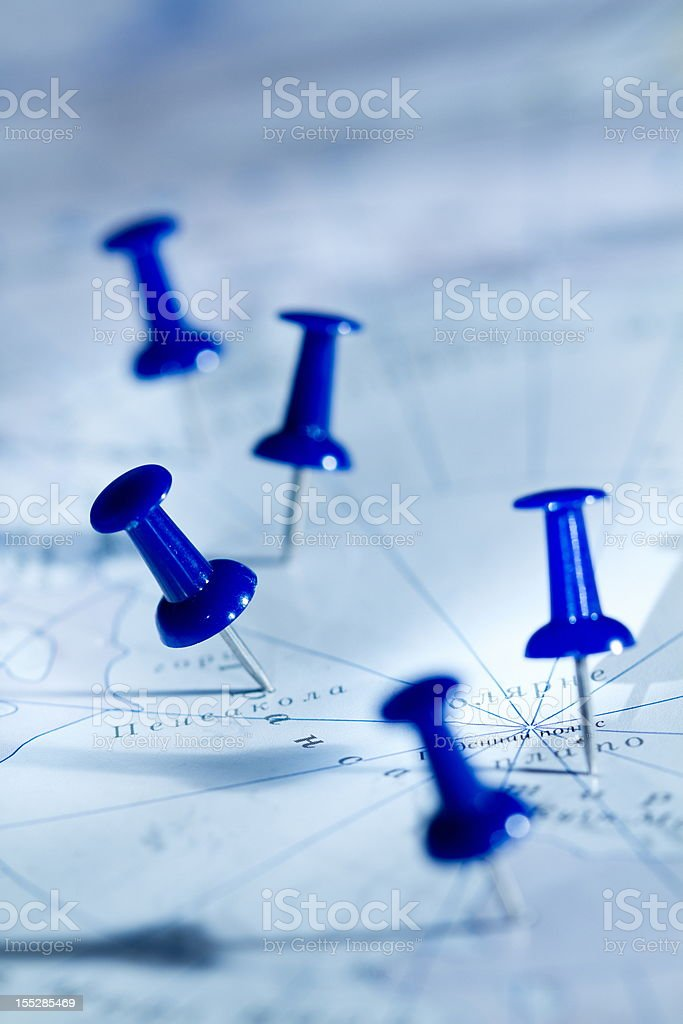 Pins in a map stock photo