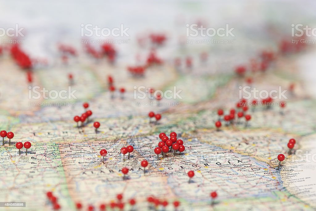 Pins in map for locations near Georgia stock photo