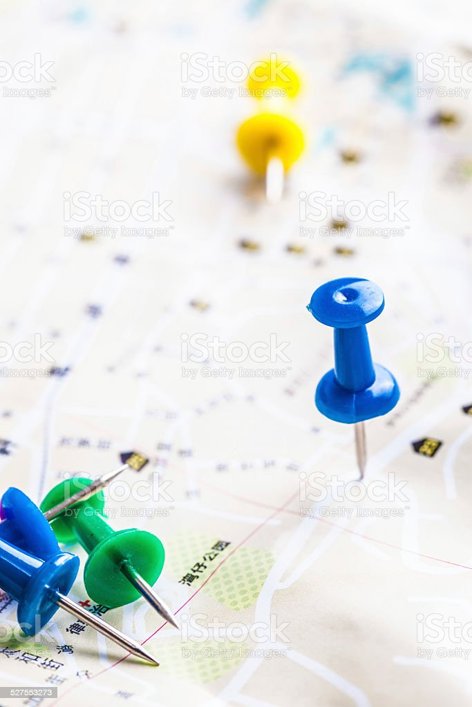 Pins in map stock photo