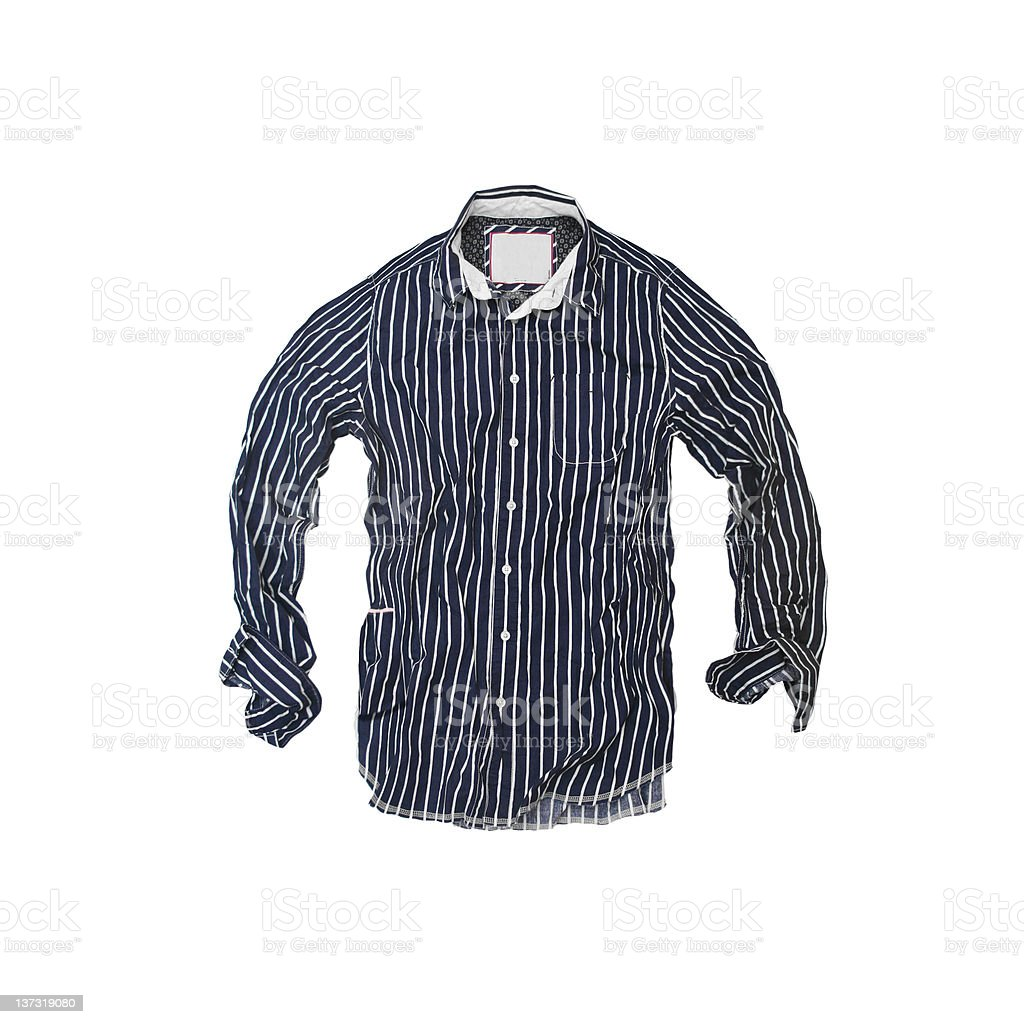 Pinstriped Pajama Top on White Background stock photo