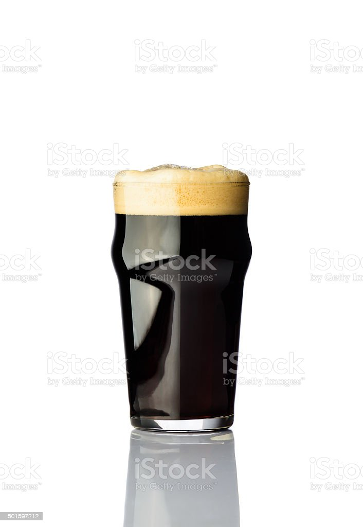 pint dark beer stock photo