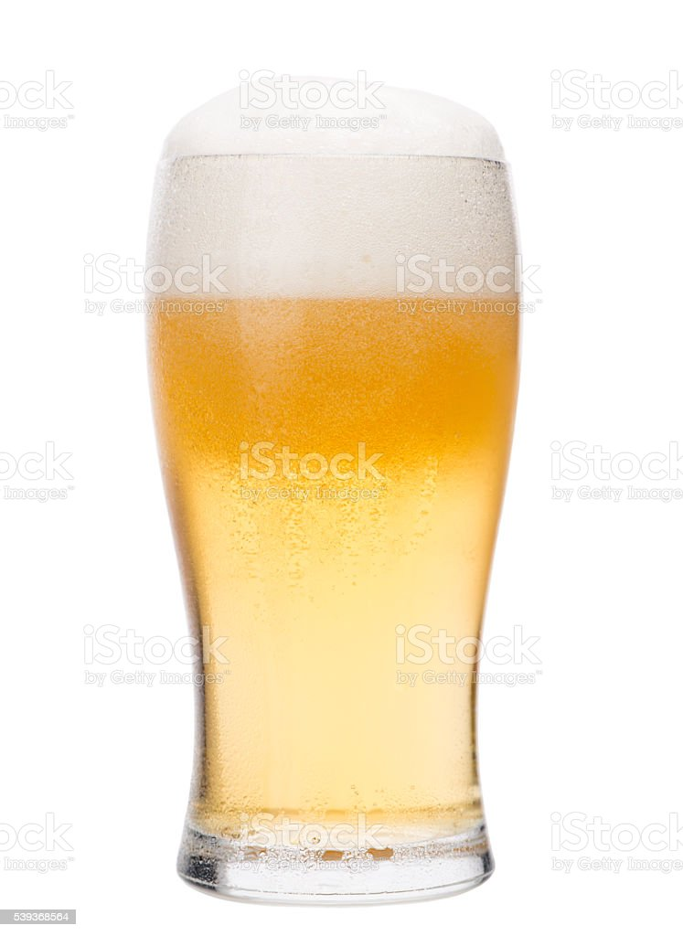 Pint glass of light lager beer. Home brewing. stock photo