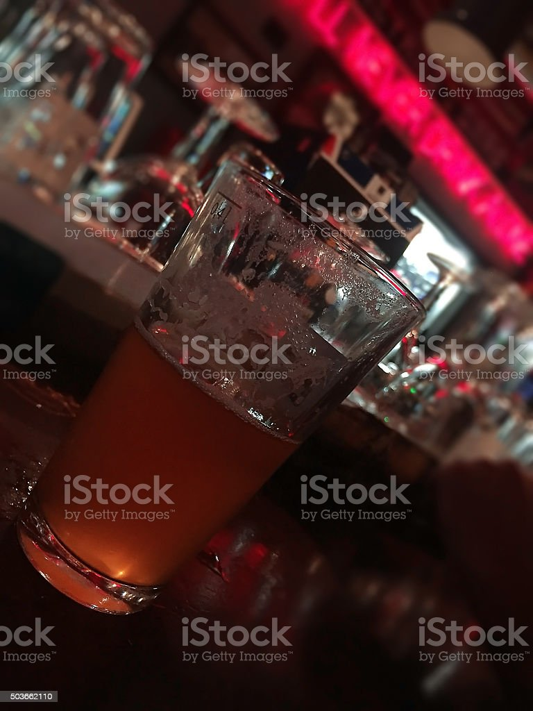 Pint of beer at pub stock photo
