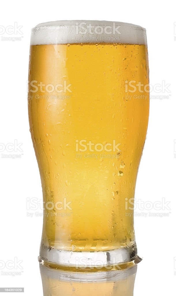 Pint of beer on a white background royalty-free stock photo
