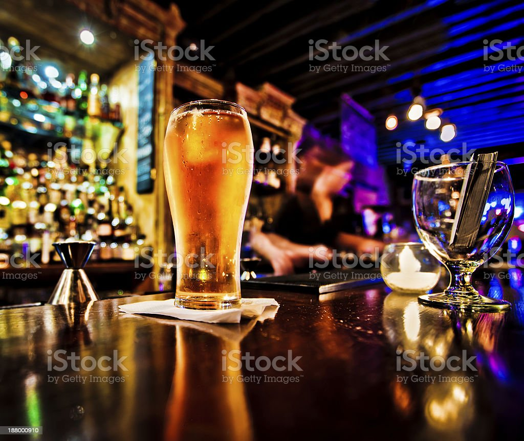 Pint of beer stock photo