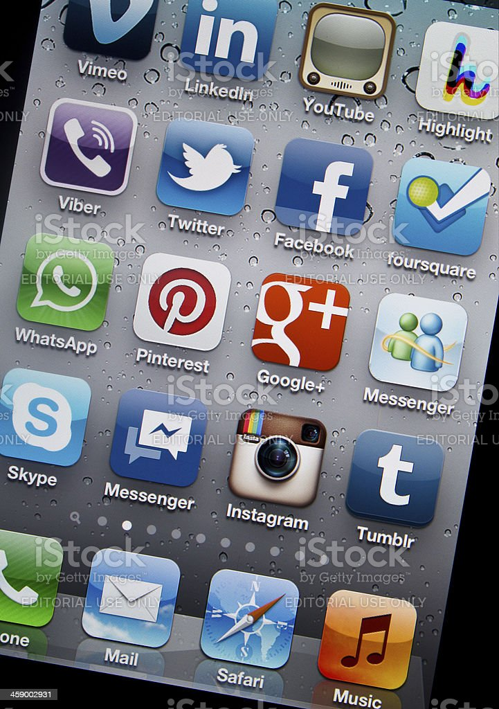 Pinterest and Social Media Applications on iPhone 4S royalty-free stock photo
