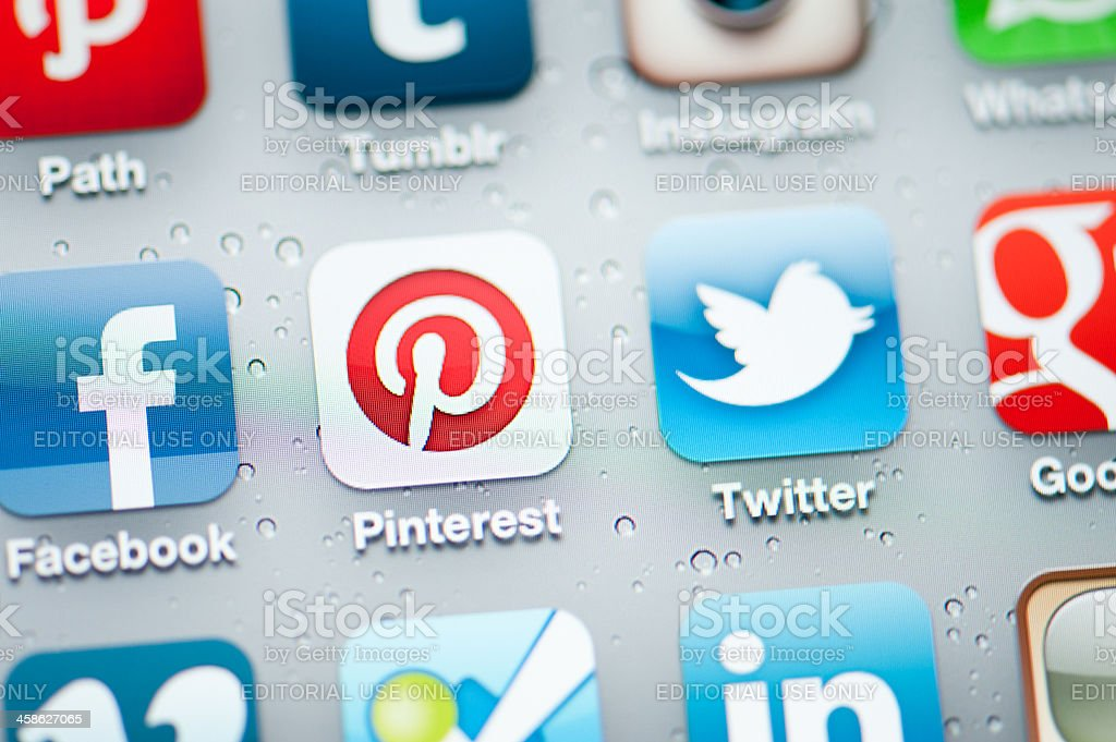 Pinterest and Social Media Applications on Iphone royalty-free stock photo