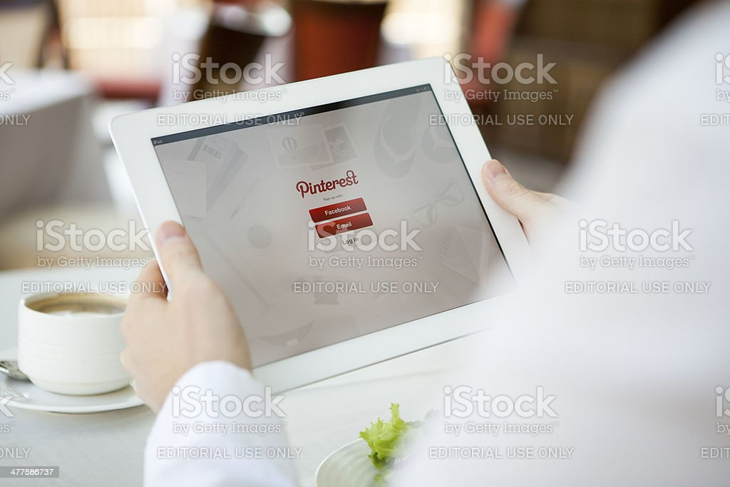 Pinterest app on iPad stock photo