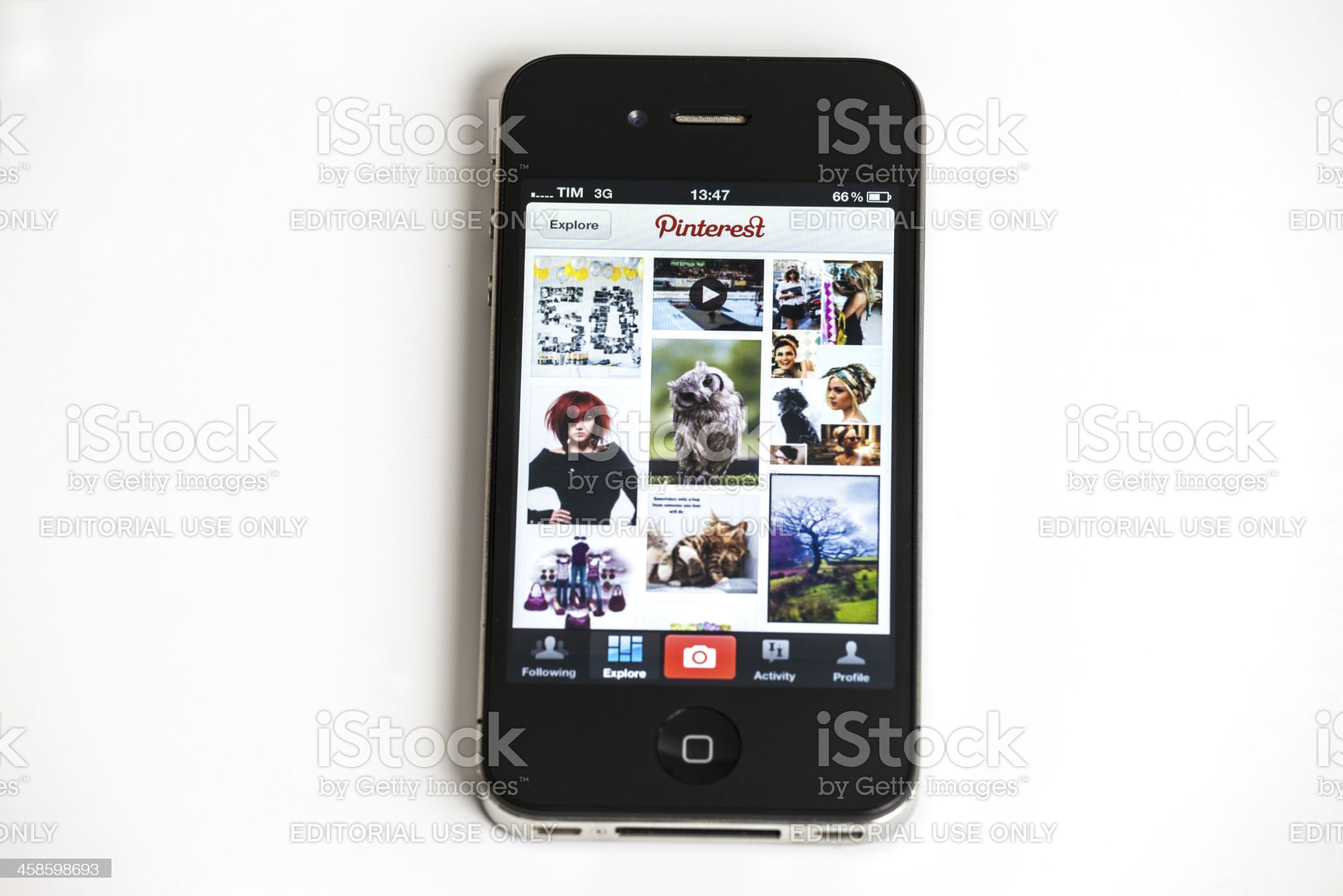 Pinterest Application on Iphone 4 royalty-free stock photo