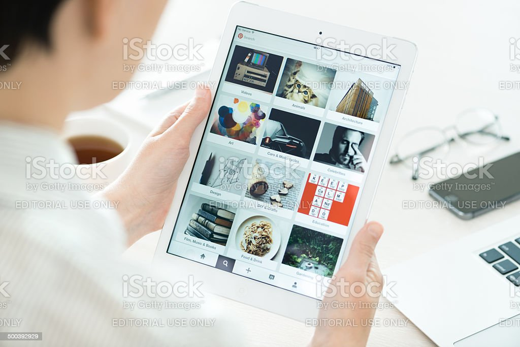 Pinterest boards on Apple iPad Air stock photo
